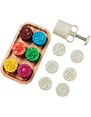 LOUTYTUO Mid-Autumn Festival Hand-Pressure Mooncake Mold Cookie Stamps DIY Pastry Tool with 6 Pcs Flower Mode Pattern (75 3D)