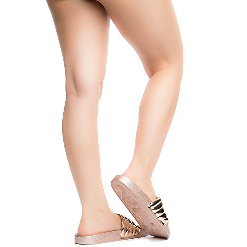 Bamboo Womens Cozy-31S Slide Sandal Rose Gold ibuiB0knD