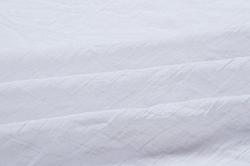 Long Casual Femme Chemise Blanc Bouton Blouse Trois Robe Quarts Col Tunique Manches Chemisier V 6SqaC