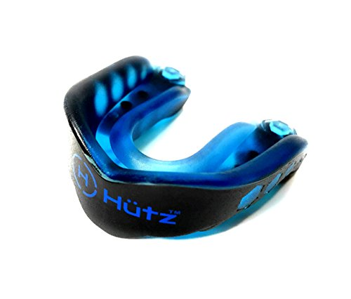 Hütz – Adult Mouth Guard for Sports + FREE case! Anatomically Designed for Adults (11+) – Mouthguard for Jiu Jitsu, MMA, Boxing, Football, Lacrosse and Other Contact Sports (Black and Blue)