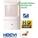 HD-CVI 1080P @ 30FPS 2MP Hidden Spy Security Camera: 48x 940nm Invisible IR Glow LEDs, 3.7mm Wide Angle Lens, Sony IMX322, IR Cut Filter, PIR Motion Detector Sensor Housing