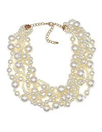 MeliMe CIOOU Womens Imitation Pearl Twisty Chunky Bib Necklace Chokers for Wedding Party