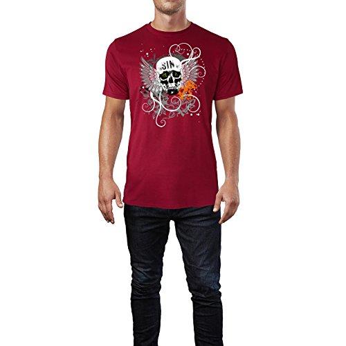 SINUS ART ® Totenkopf mit Flügeln und schwarzem Hintergrund Herren T-Shirts in Independence Rot Fun Shirt mit tollen Aufdruck