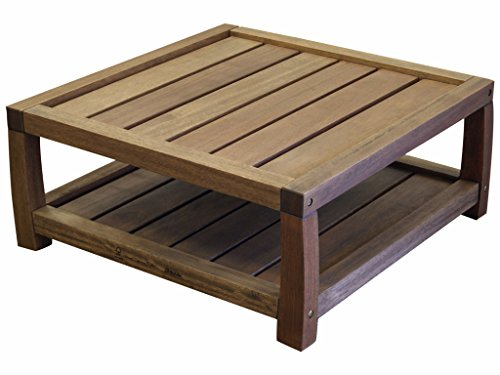 Timbo Vila Rica Hardwood Outdoor Patio Square Coffee Table, Brown Finish - Wood Square Table
