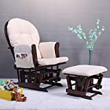 JAXPETY Bow Back Glider and Ottoman with Beige Cushions Beech Wood Rocking Nursing Chair Relax Chair Set