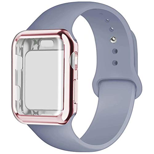 YC YANCH Compatible for Apple Watch Band with Screen Protector 40mm, Silicone Sport Strap Replacement Wristband with Apple Watch Case Compatible with iWatch Apple Watch Series 4,S/M Lavender Gray