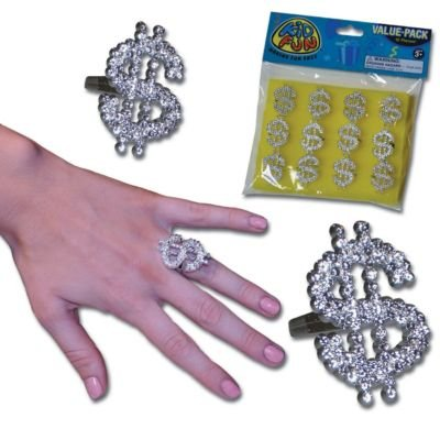 US Toy Dozen Metallic Look Plastic Dollar Sign Bling Rings C