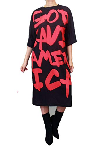 STAY CHIC Knee Length Graphic Shirt (Medium, Black) ()