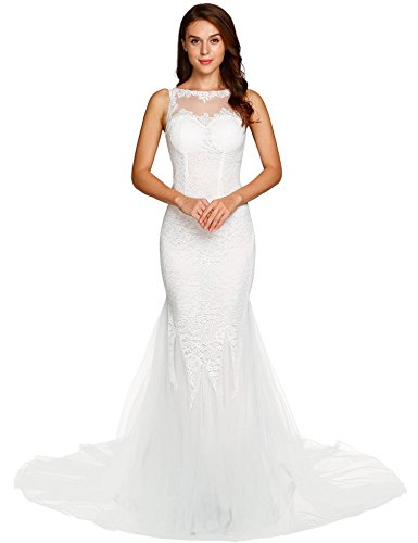 ANGVNS Women's Sleeveless Mermaid Lace Wedding Dresses Bridal Wedding Ball Gowns White XL by ANGVNS