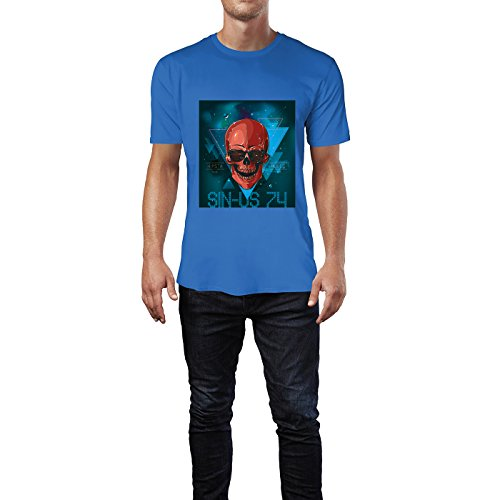 SINUS ART® Totenkopf Cosmic Hipsta Rules Herren T-Shirts in Blau Fun Shirt mit tollen Aufdruck