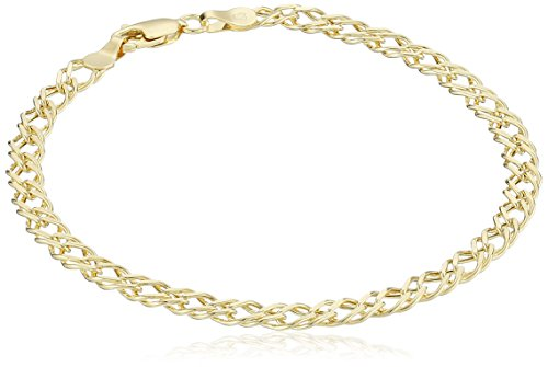 14k Yellow Gold Diamond-Cut Curb Link Bracelet, 7.5