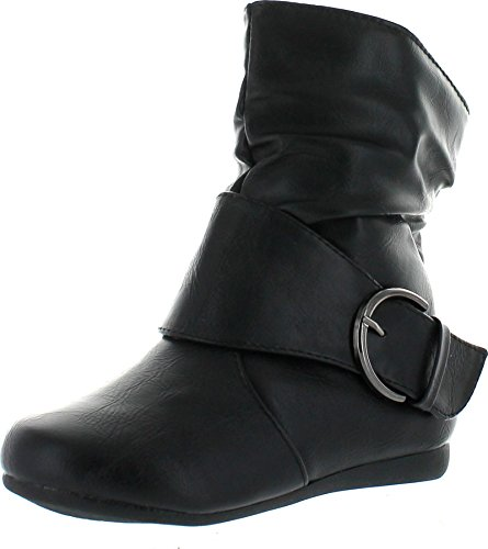 Link Selena-63K Children Girl's Comfort Buckle Deco Flat High Top Ankle Booties,Black,1