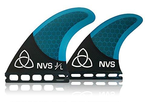 Naked Viking Surf NVS: Medium JL Quad Surfboard Fins (Set of 4) Blue Carbon Fiber, Futures (Carbon Fiber Fin Set)