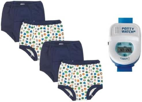 Gerber 4 Pack Training Pants with Potty Watch Timer, Boy, 2T