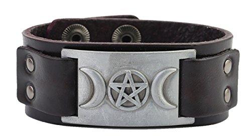 - Triple Moon Goddess Wicca Pentagram Magic Amulet Talisman Vintage Bangle Bracelet (Antique Silver,Black)