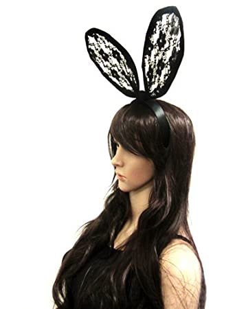 Amazon.com : See Through Lace Covered Bunny Ears Celebrity Style ...