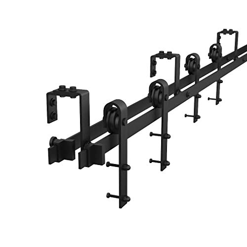 - WINSOON Sliding Double Track Bypass Barn Door Hardware 10ft/120inch Kit Black,U-Shape Bracket Low Ceiling,J Shape Hanger,Rustic Heavy Duty Interior Exterior