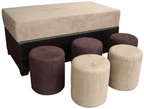 ORE International HB4174 Storage Ottoman with 5 Ottomans
