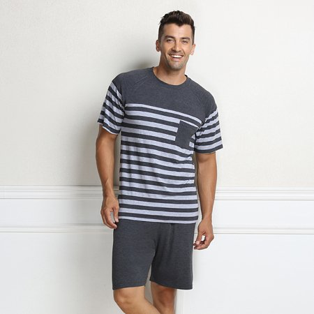 MH-RITA Pajama For Men Summer Modal Men Pajama Set Women Sleepshirts Couples Stripes Sleepwear Homewear Men Gray M China