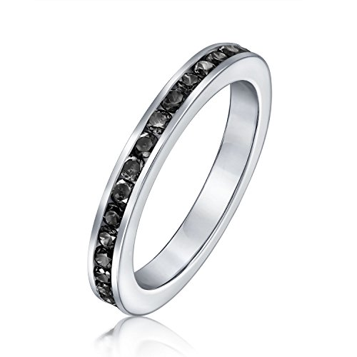 Cubic Zirconia Black Stackable CZ Channel Set Eternity Band Ring Simulated Onyx For Women Teen 925 Sterling Silver ()