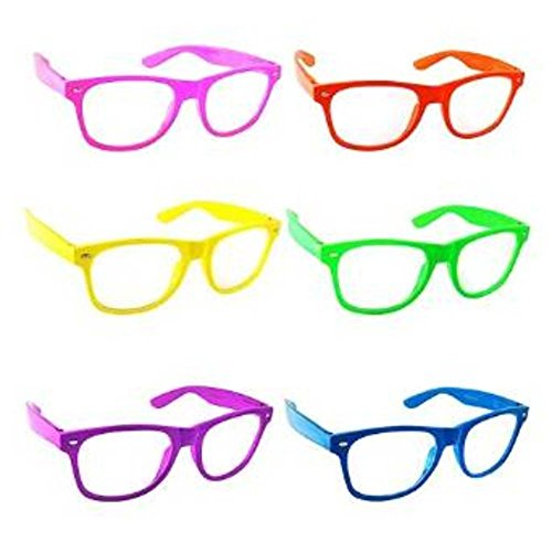 Color Clear Lens Glasses Nerd Glasses Buddy Holly Wayfarer (Colored Contact Lenses For Halloween)