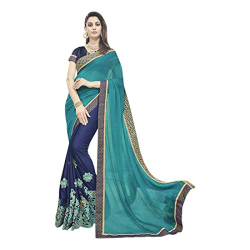 Saree Chiffon Printed Design Solid Indianbeauty Fashion blue Self wAUSqU