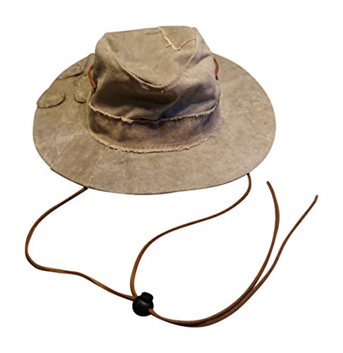 The Real Deal Brazil Original Tarp Hat and Solos Hat Chin Cord (Medium, Canvas w/Leather Chin (Recycled Tarp)