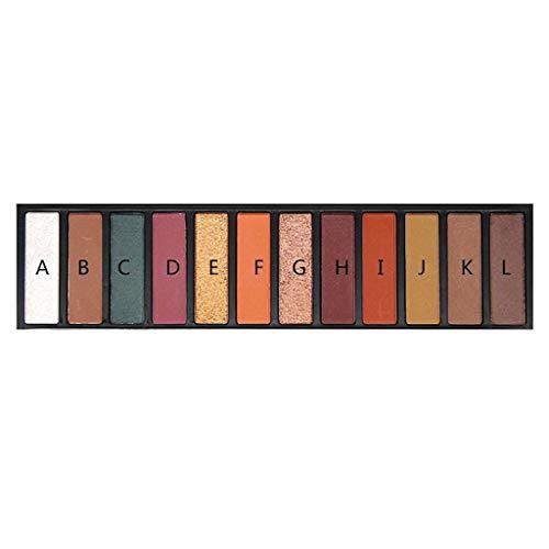 (WONdere 12 Color Eyeshadow Long Lasting Earth Pearl Light Matte Eyeshadow Disc (B))