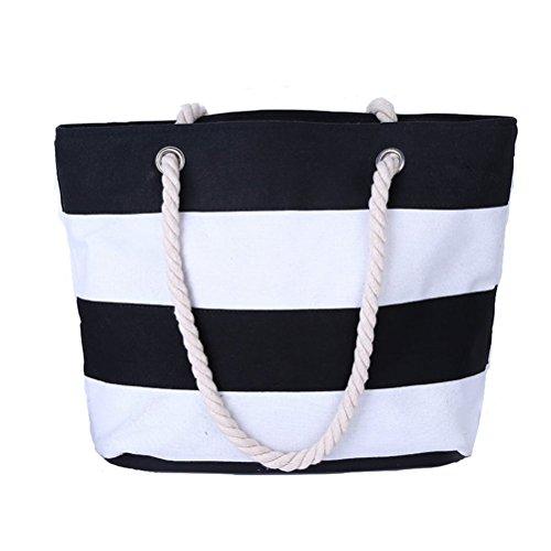 Oudan Bolso de hombro de las mujeres con la bolsa de asas grande de las rayas en bolso de la playa de la lona Compras marinas casuales (Color : En blanco y negro, tamaño : Un tamaño) En Blanco Y Negro