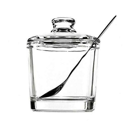 Classic Clear Glass Sugar Bowl Salt Spice Pot Pepper Storage Jar Seasoning Pot Container Condiment Box with Lid and Spoon for Home Kitchen