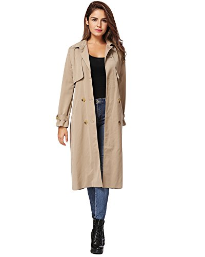 Romacci Khaki Button Turn Windbreaker Closure Double Coat Collar Long Khaki Sleeves Lined Coat down breasted Long Trench rqF4Irzwa