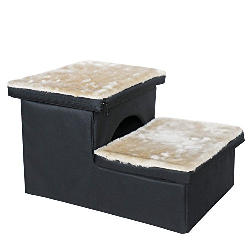 Petsfit Two-Steps Portable Pet Steps for Double-Use, Stair and House, Foldable Dog Stairs Helps for Easy Storage with Fleece Mat, 17