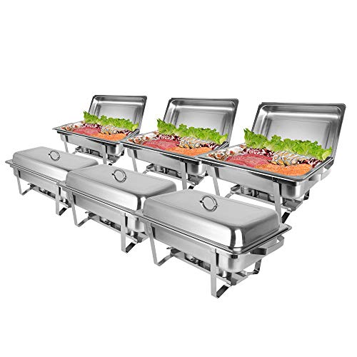 ROVSUN 8 Qt 6 Pack Full Size Upgraded Stainless Steel Chafing Dishes Buffet Silver Rectangular Catering Chafer Warmer Set with Trays Pan Lid Frame Stand Frame for Kitchen Party Banquet -