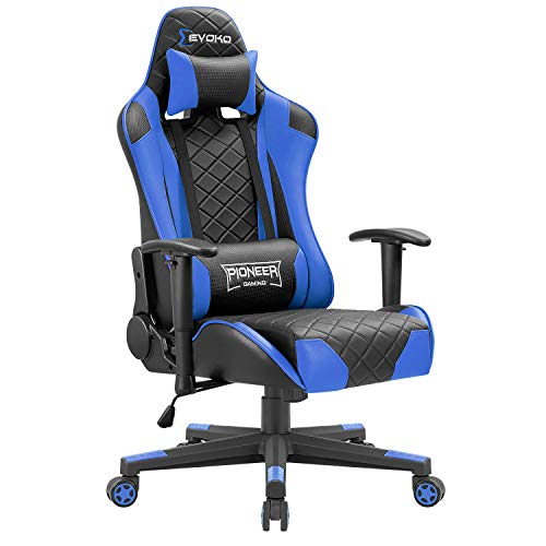 Tuoze Gaming Chair Racing Style High Back PU Computer Chair Ergonomic Adjustable Height Desk Chair Recliner Swivel Executive Office Chair with Headrest and Lumbar Support (Blue)