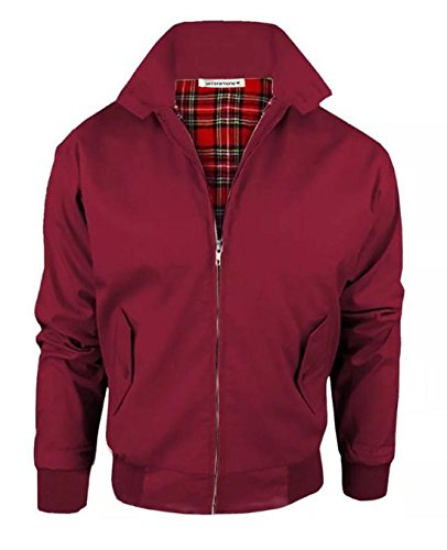 - New Womens Bomber Zip Up Classic Retro 1970's Vintage Coat Harrington Jacket Top Wine