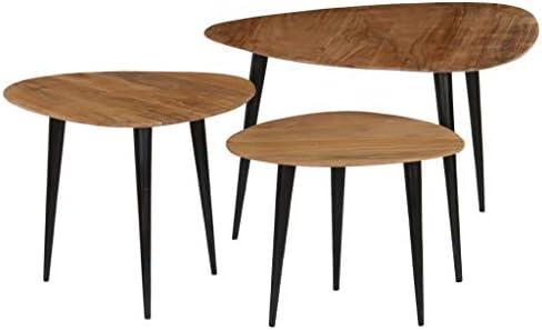 100% Authentiek Festnight Houten bijzettafelset, 3-delig, voor woonkamertafel, koffietafel, massief acaciahout met stalen poten.  DfXZqZ1