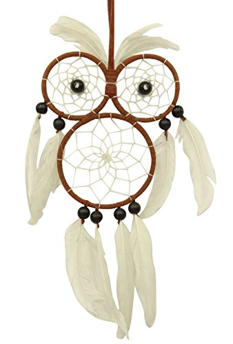 White Faux Feather Dreamcatcher Boho Dream Catcher Owl Wall
