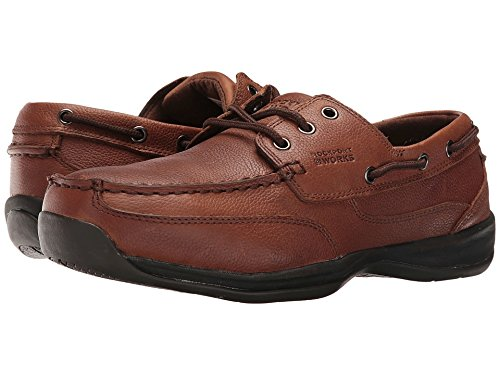 Rockport WORKS Men's Sailing Club 3 Eye Tie Steel Toe Boat Shoe, Dark Brown 7 (Tie Shoes Deck)