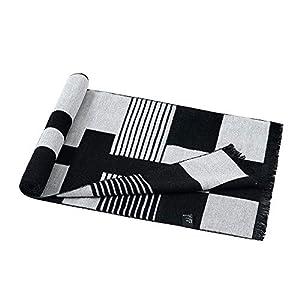 Felice Thicken Men' s Black Gray Checked Scarf Winter Cotton Neckerchief Male Dad Gift