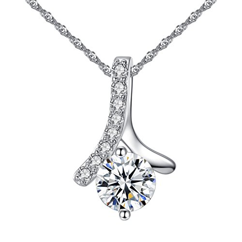 YAZILIND Charming Women Love Angel Pendant Necklace Cubic Zirconia Elements Silver Plated Women Jewelry (Zirconia Cubic Angel Pendants)