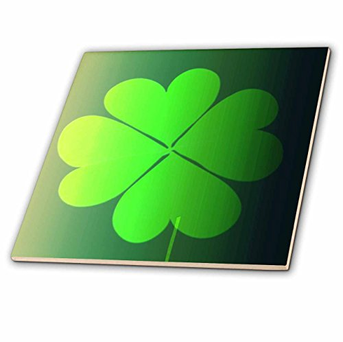 (3dRose ct_44722_8 Green Four Leaf Clovers-St Patricks Day-Art-Glass Tile, 12-Inch)
