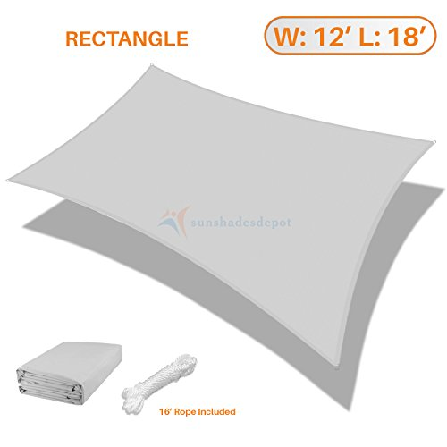 Sunshades Depot 12 x 18 Rectanlge Waterproof Knitted Shade Sail Curved Edge Light Gray Light Grey 220 GSM UV Block Shade Fabric Pergola Carport Canopy Replacement Awning Customize Available