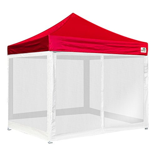 Basic 10×10 Ez Pop up Canopy Screen Houses Shelter Instant Party Tent Gazebo W/4 Removable Zipper End Mesh Sidewalls W/roller Bag (Red)