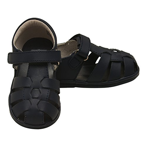 Price comparison product image Angel Little Boys Navy Leather Strappy Woven Fisherman Sandals 6 Toddler