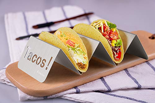 KitchenTour Taco Holder Stand 2 Pack - Stylish 'Tacos!' Hollow Out Design Stainless Steel Taco Rack Holds Perfect for HARD or SOFT Tacos Shell - Keep Tacos Upright without Any Mess by KitchenTour (Image #4)