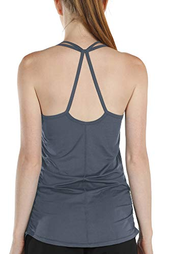 Melpoint Yoga Tops with Built in Bra - Womens Workout Strappy Tank Tops Athletic Active Sports Running Exercise Shirts (Grey, M)