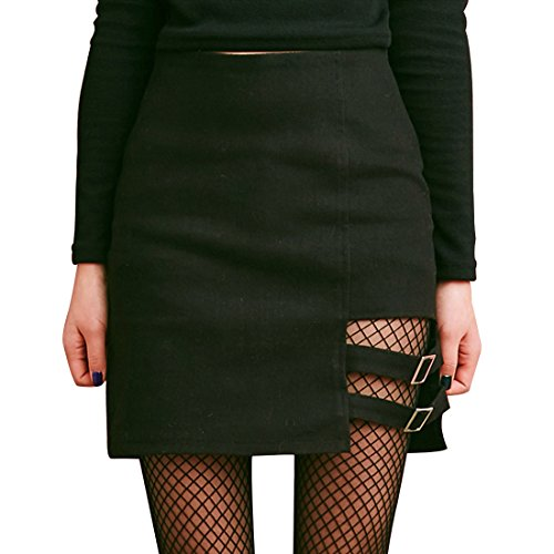 yangelo Women's Fashion Harajuku Hollow Out Female Sexy Short Mini Skirt Women Size L -