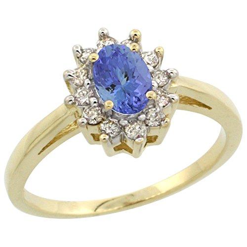 - 14K White Gold Natural Tanzanite Flower Diamond Halo Ring Oval 6X4mm, size 8