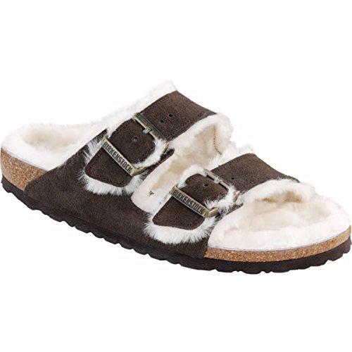 New Birkenstock Arizona Shearling Mocha Natural Suede 41/10-10.5 N Womens Sandals