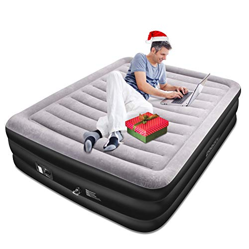 SPREEY Air Mattress Air Bed & Built-in Electric Pump, Queen Inflatable Mattress Bed Soft Flocking Layer Comfortable with Portable Storage Bag, Black Queen (80 x 60 x 20 ()